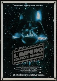 8a0315 EMPIRE STRIKES BACK advance Italian 1sh 1980 George Lucas, Darth Vader head in space, rare!
