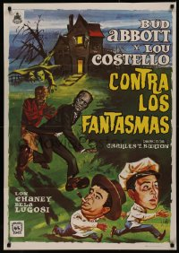 8a0281 ABBOTT & COSTELLO MEET FRANKENSTEIN Spanish R1975 different art with Wolfman & Dracula!