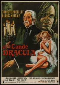 8a0282 COUNT DRACULA Spanish 1970 Jesus Franco, art of Christoper Lee, Klaus Kinski & sexy girl!