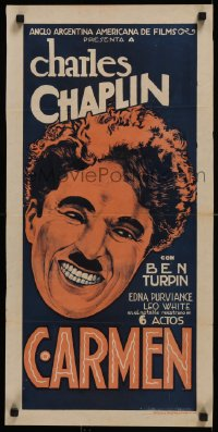 8d0041 BURLESQUE ON CARMEN Argentinean R1920s different art of smiling Charlie Chaplin, ultra rare!