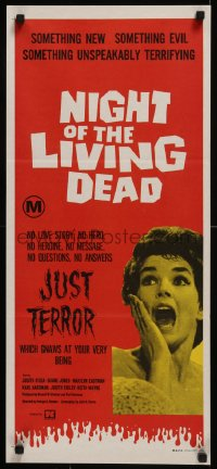 8d0040 NIGHT OF THE LIVING DEAD Aust daybill 1972 different image, Just Terror tagline, very rare!