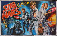 8d0104 STAR WARS hand painted 81x127 Lebanese poster R2010s cool different cast montage art!