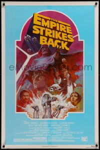 8d0058 EMPIRE STRIKES BACK 1sh R1982 George Lucas classic, Tom Jung, rare different teal background!
