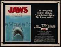 8d0031 JAWS 1/2sh 1975 art of Steven Spielberg's classic man-eating shark attacking sexy swimmer!