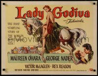 8d0032 LADY GODIVA 1/2sh 1955 great artwork of super sexy naked Maureen O'Hara on horseback!