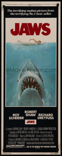 8d0076 JAWS insert 1975 Steven Spielberg's classic movie & image, much more rare than the one-sheet!