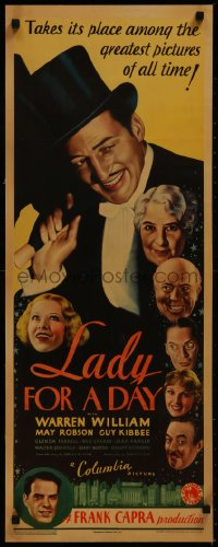 8d0024 LADY FOR A DAY insert 1933 Frank Capra, Warren William, great cast montage, ultra rare!