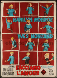 8d0096 LET'S MAKE LOVE Italian 2p 1960 great different montage of sexy Marilyn Monroe, ultra rare!