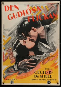 8d0042 GODLESS GIRL Swedish 1929 different Rohman art of Basquette, Cecil B. DeMille, ultra rare!