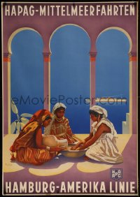 8d0010 HAMBURG AMERICA LINE 33x47 German travel poster 1934 Anton art of Mediterranean women, rare!