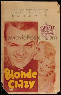 8d0105 BLONDE CRAZY WC 1931 winking James Cagney with Joan Blondell & Noel Francis, very rare!