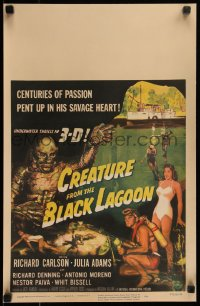 8d0106 CREATURE FROM THE BLACK LAGOON 3D WC 1954 great art of savage monster, Julia Adams & divers!