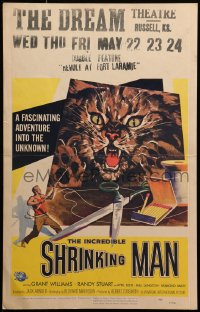 8d0107 INCREDIBLE SHRINKING MAN WC 1957 different Reynold Brown art of giant cat attacking tiny man!