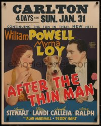 8d0013 AFTER THE THIN MAN jumbo WC 1936 William Powell, Myrna Loy & Asta the dog too, rare!