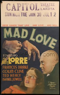 8d0113 MAD LOVE pressbook cover 1935 Peter Lorre has transplanted dead hands that live, love & kill!
