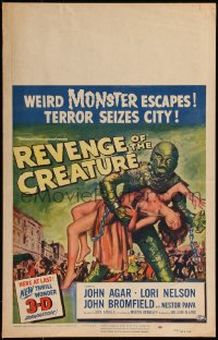 8d0110 REVENGE OF THE CREATURE 3D WC 1955 wonderful Reynold Brown art of monster holding girl!