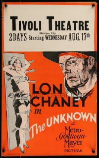 8d0111 UNKNOWN WC 1927 great art of knife thrower Lon Chaney with sexy assistant Joan Crawford!