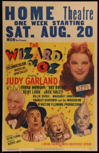 8d0112 WIZARD OF OZ WC R1949 best full-color image of Judy Garland, Bolger, Lahr, Haley & Morgan!