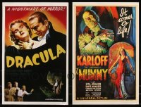 8h0016 LOT OF 2 UNFOLDED HORROR 11X17 REPRODUCTION POSTERS 2000s Dracula & The Mummy, classic art!