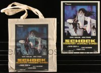 8h0014 LOT OF 2 BEYOND THE DOOR II ITEMS 1977 cool canvas tote bag & mini poster, Schock!