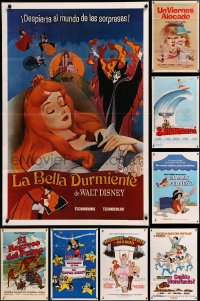 8h0565 LOT OF 14 FORMERLY TRI-FOLDED WALT DISNEY SPANISH LANGUAGE ONE-SHEETS 1960s-1970s cool!