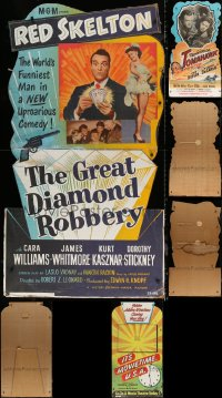 8h0001 LOT OF 3 STANDEES 1950s Great Diamond Robbery, Tomahawk, It's Movietime U.S.A.!