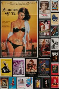 8h0033 LOT OF 51 FOLDED SEXPLOITATION ONE-SHEETS 1970s-1980s sexy images with partial nudity!