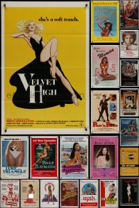 8h0036 LOT OF 42 FOLDED SEXPLOITATION ONE-SHEETS 1970s-1980s sexy images with partial nudity!