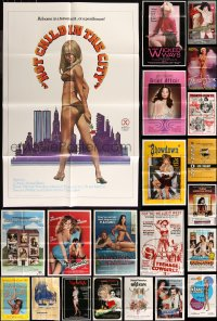 8h0042 LOT OF 33 FOLDED SEXPLOITATION ONE-SHEETS 1970s-1980s sexy images with partial nudity!