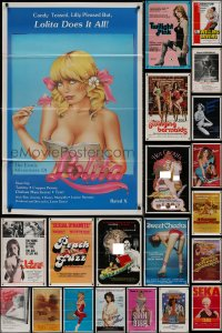 8h0530 LOT OF 42 FORMERLY TRI-FOLDED SEXPLOITATION 27X41 ONE-SHEETS 1970s-1980s sexy images!