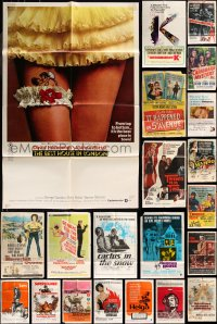 8h0024 LOT OF 88 FOLDED ONE-SHEETS 1950s-1970s great images from a variety of different movies!