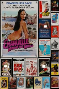 8h0031 LOT OF 52 FOLDED SEXPLOITATION ONE-SHEETS 1970s-1980s sexy images with partial nudity!