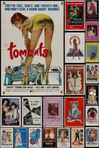 8h0038 LOT OF 39 FOLDED SEXPLOITATION ONE-SHEETS 1970s-1980s sexy images with partial nudity!