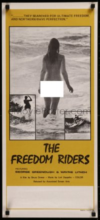 8j0019 FREEDOM RIDERS Aust daybill 1972 completely naked Aussie surfer girl, yellow border design!