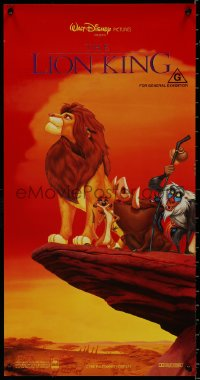 8j0020 LION KING Aust daybill 1994 classic Disney, Simba, Timon & Pumbaa on Pride Rock, red style!