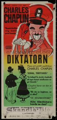 8j0010 GREAT DICTATOR Swedish stolpe 1945 Charlie Chaplin directs and stars, wacky WWII comedy!