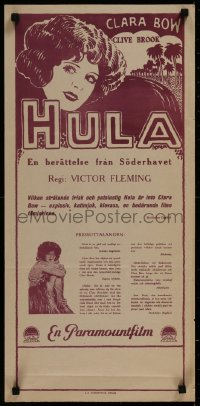 8j0011 HULA Swedish stolpe 1927 Clive Brook, different art of Clara Bow in Hawaii, ultra rare!