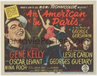 8k0568 AMERICAN IN PARIS TC 1951 great art of Gene Kelly & Leslie Caron dancing by Eiffel Tower!