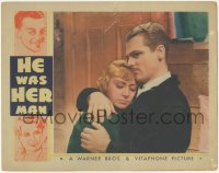 8k0510 HE WAS HER MAN LC 1934 close up of James Cagney embracing sad Joan Blondell, ultra rare!
