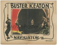 8k1097 NAVIGATOR LC 1924 wonderful close up of Buster Keaton falling into pipe on ship, ultra rare!