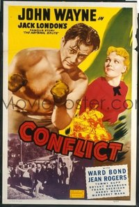 JW 129 CONFLICT one-sheet movie poster R49 barechested boxing John Wayne!