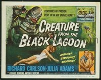 VHP7 372 CREATURE FROM THE BLACK LAGOON title lobby card '54 classic image!