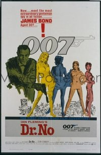 #340 DR. NO yellow smoke 1sh '62 Sean Connery is extraordinary gentleman spy James Bond 007!