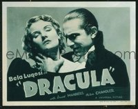 VHP7 089 DRACULA title lobby card R38 great Bela Lugosi choking image!