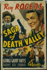 324 SAGA OF DEATH VALLEY linen, signed by Roy Rogers 1sheet