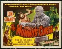 #081 MUMMY'S CURSE title lobby card R51 Lon Chaney creeps like a cobra!!