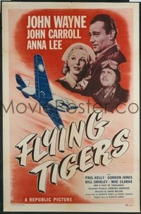 JW 204 FLYING TIGERS one-sheet movie poster R48 John Wayne, WWII airplanes!