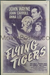 JW 205 FLYING TIGERS one-sheet movie poster R54 John Wayne, WWII airplanes!