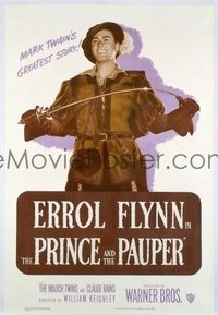 1051 PRINCE & THE PAUPER linenbacked one-sheet movie poster R49 Errol Flynn