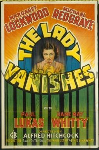 #205 LADY VANISHES one-sheet movie poster '38 English Alfred Hitchcock!!